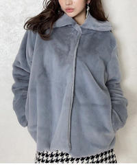 fake fur coat -blue-