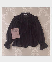 tiered frill bowtie blouse -black-
