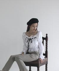 front ribbon lace blouse(A19-01149K)-WHT.SOL/F