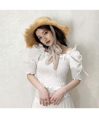【Summer 28】shirring  side ribbon blouse(S20-01201K)