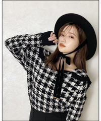 【Autumn 29】houndstooth check sailor knit(A20-01212K)