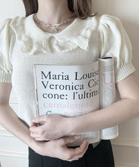 【last 1】frill collar knit tops