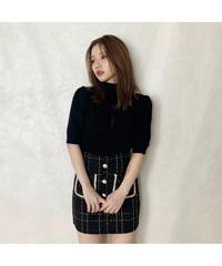 【Autumn 2】tweed pearl button mini skirt (A20-03058K)