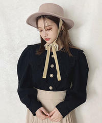 【last 1】big collar pearl blouse