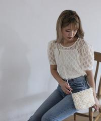 see-through lace tops (S19-01129K)-BEG.LAC/F