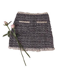 【Autumn 5】 tweed fringe mini skirt (A20-03056K)