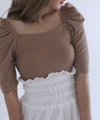 square neck puff sleeve tops (S19-01138K)-BRN.SOL/F