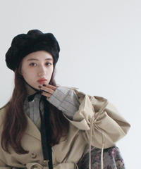 fur ribbon beret (A19-10133K)