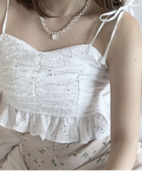 shirring cotton lace bustier