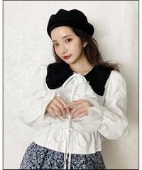 bi-color ribbon blouse