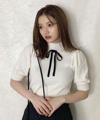 【Autumn 7】 ribbon half sleeve knit (A20-01206K)