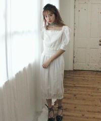 【lottie made】cotton cocoon skirt (S19-03037O)-WHT.LAC/F