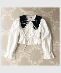 【last 1】bi-color ribbon blouse