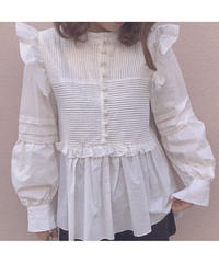 frill button high neck blouse(A19-01173K)