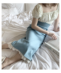 frill denim long skirt (ice blue)
