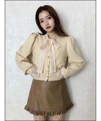 【Autumn 28】fake leather frill mini skirt