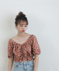 heart neck rose tops (S19-01140K)-RED.ROS/F