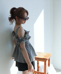 gingham check 2way tops (S19-01125K)-BLK.CHK/F