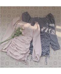 double shirring gingham one-piece (S20-04075K)