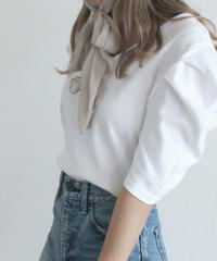 v neck puff sleeve tops (S19-01115K)-WHT.SOL/F