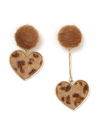 leopard heart asymmetry earring