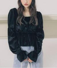 velour sheer frill blouse