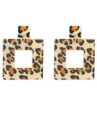 leopard square pierce (S19-10111K)-BRN.LEO/F