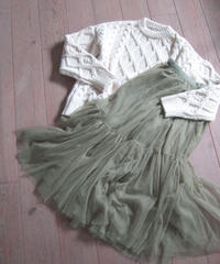cable knit & tulle skirt(A19-05035K)
