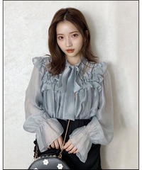 【Autumn 24】tiered frill bowtie blouse (A20-01210K)