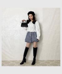 【last 1】flower balloon short pants -black×blue-