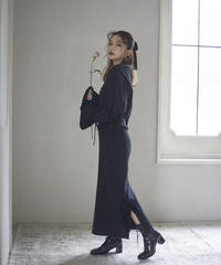 【&lottie original】side ribbon knit skirt -black-