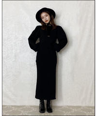 【Autumn 40】puff sleeve long sweat one-piece (A20-04084K)