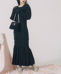 shirring puff sleeve long one piece (3colors)