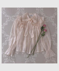 tiered frill bowtie blouse -beige-