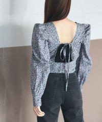 back ribbon lady flower blouse(A19-01164K)