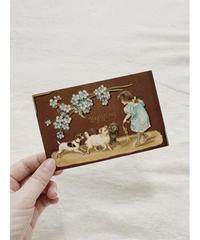 antique postcard ワンコとお花