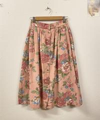 優しいピンクの花柄スカート1869