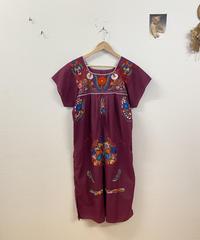 メキシカン刺繍ワンピース(purple)3778