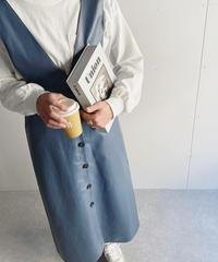 フリルカットソー付きエコレザージャンパースカート