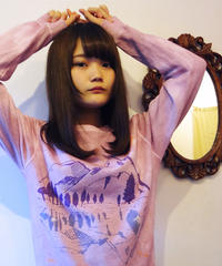 【在庫限り】水鏡スウェット Sunset purple  ピンク×パープル