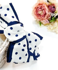 製作日和/せいさくびより L.Dot.03 Dot ribbon カチューシャ(white/P.navy)