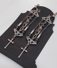Phantom Jeweiry 首吊り骸骨と十字架のイヤリング