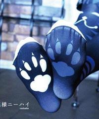 curiosite お狐様ニーハイ(黒青)