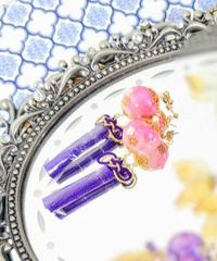 製作日和 D-Pi 珠飾りのピアス(ピンク系)(期間限定アイテム)