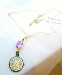 【 Roslina】 R-04 アレキサンドライトと懐中時計チャーム ネックレス(PUR系)
