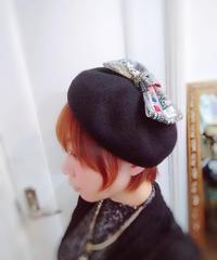 Fish Born Chips/フィッシュボーンチップス  【Big Ribbon】ベレー帽 (Black/XS size)