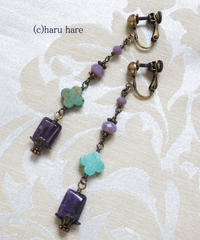 HARU HARE 紫淡水パールと天然石のイヤリングPart2 AM2105-05