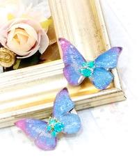 Gothic Holic/ゴシックホリック  339  舞い踊る蝶々クリップ ミニミニ 青ピンク