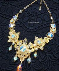 HARU HARE クリスタルカラーと青い輝きのスワロフスキーのネックレスPart1 AM2105-06