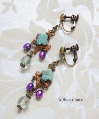 HARU HARE 紫淡水パールと天然石のイヤリングPart1 AM2105-04